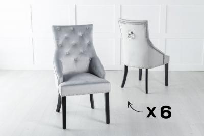 Set of 6 Large Light Grey Velvet Knockerback Ring Dining Chair