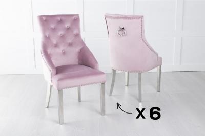 Set of 6 Large Pink Velvet Knockerback Ring Dining Chair with Chrome Legs