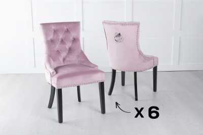 Set of 6 Pink Velvet Knockerback Ring Dining Chair