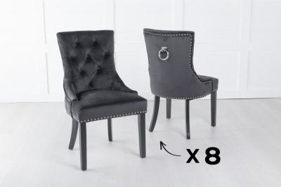 Set of 8 Black Velvet Knockerback Ring Dining Chair