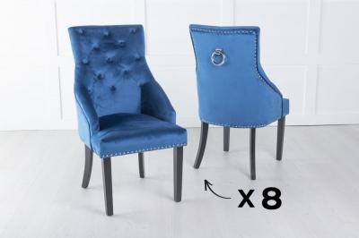 Set of 8 Large Scoop Back Dining Chair With Knocker - Blue Velvet