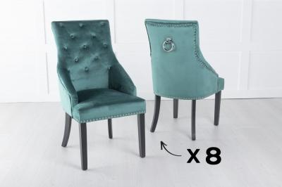 Set of 8 Large Green Velvet Knockerback Ring Dining Chair
