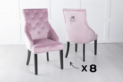 Set of 8 Large Pink Velvet Knockerback Ring Dining Chair
