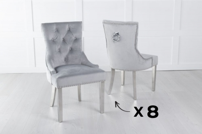 Set of 8 Light Grey Velvet Knockerback Ring Dining Chair with Chrome Legs