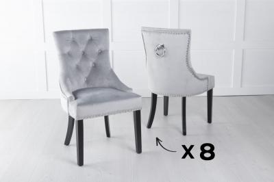 Set of 8 Grey Velvet Dining Chair With Knocker / Black Legs - Scoop Back
