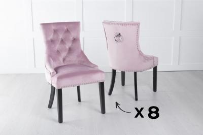 Set of 8 Pink Velvet Knockerback Ring Dining Chair