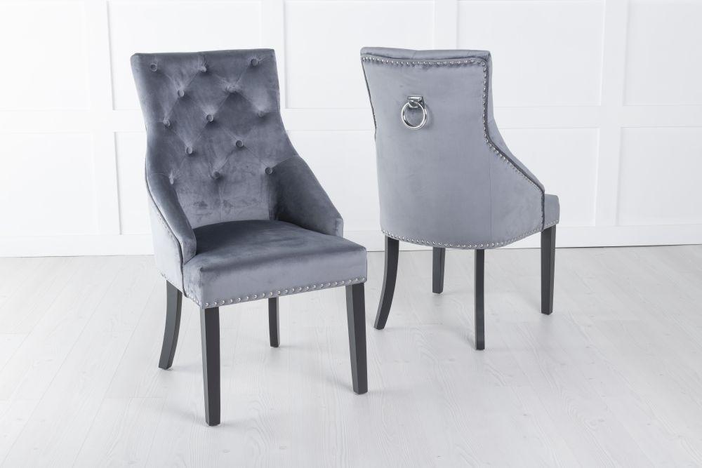 Large Grey Velvet Knockerback Ring Dining Chair