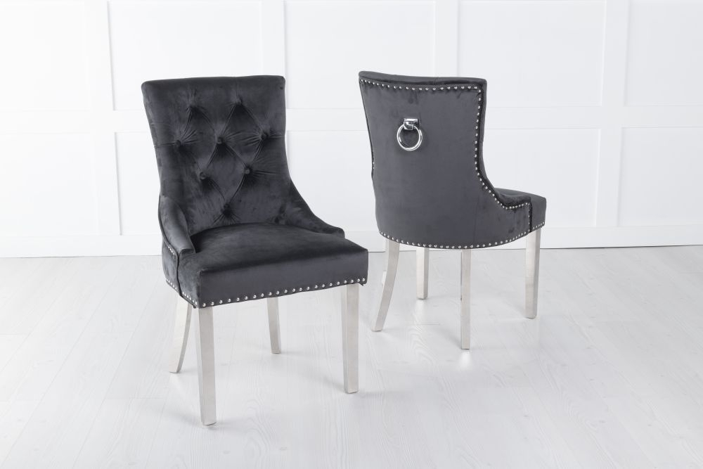 Black Velvet Knockerback Ring Dining Chair with Chrome Legs