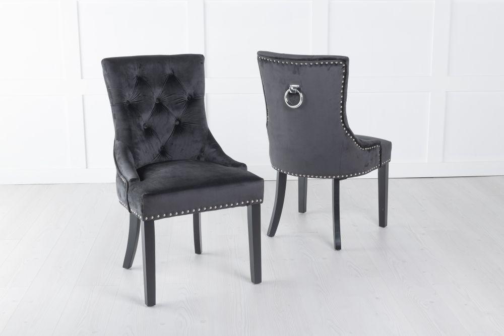 Black Velvet Knockerback Ring Dining Chair