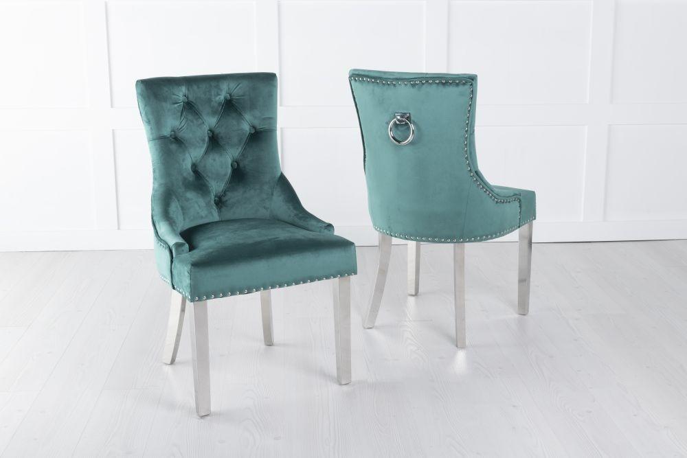 Green Velvet Knockerback Ring Dining Chair with Chrome Legs