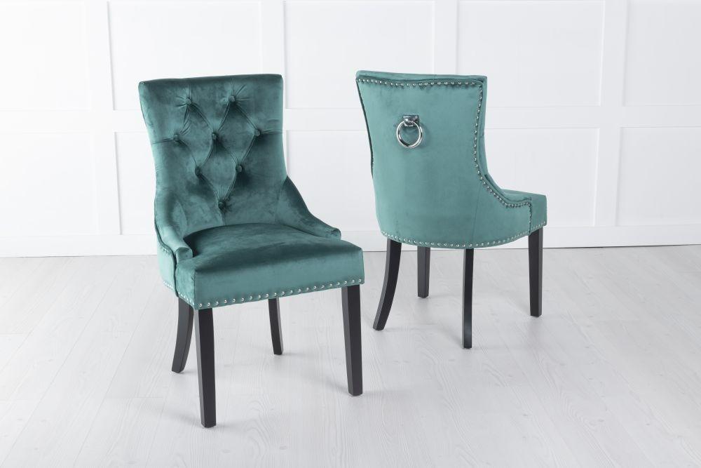 Green Velvet Knockerback Ring Dining Chair