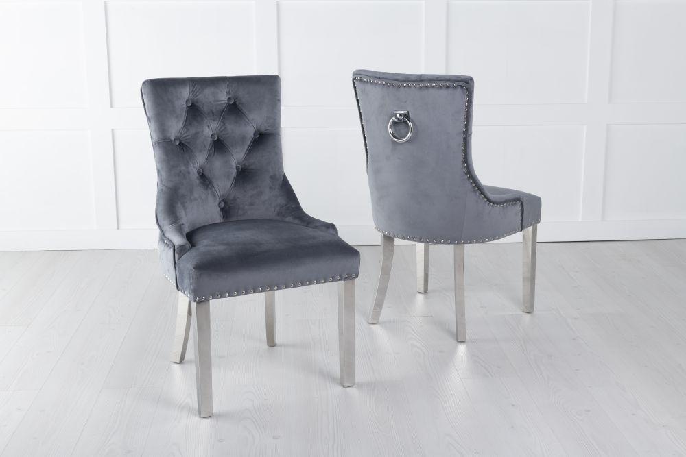 Grey Velvet Knockerback Ring Dining Chair with Chrome Legs