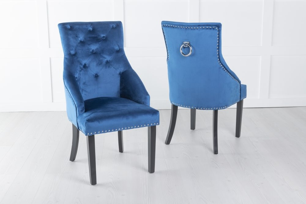Large Blue Velvet Knockerback Ring Dining Chair