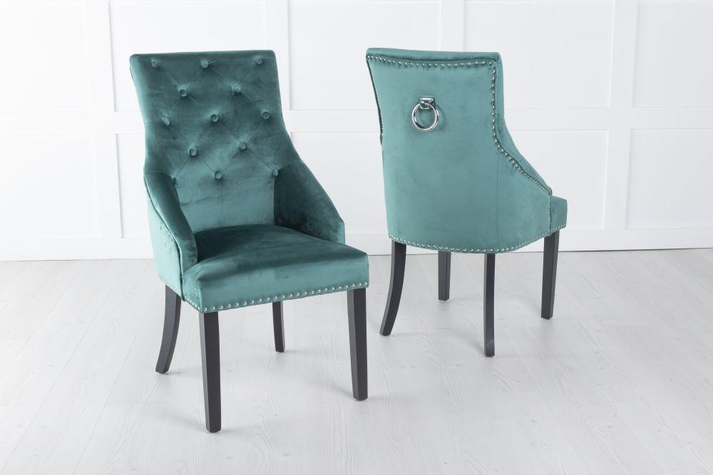 Large Green Velvet Knockerback Ring Dining Chair
