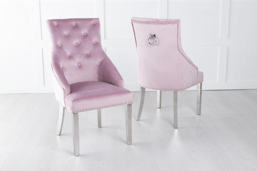 Large Pink Velvet Knockerback Ring Dining Chair with Chrome Legs