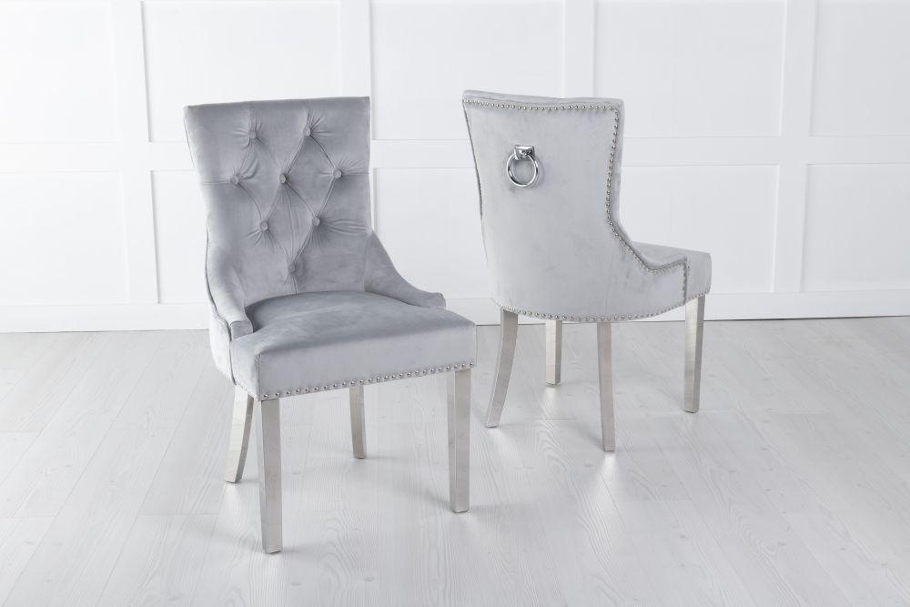 Light Grey Velvet Knockerback Ring Dining Chair with Chrome Legs