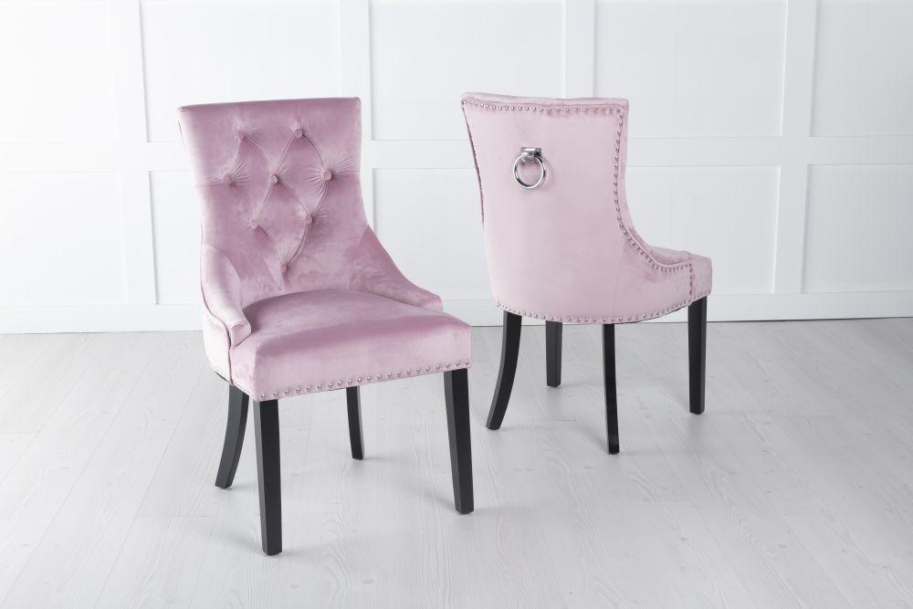 Pink Velvet Knockerback Ring Dining Chair