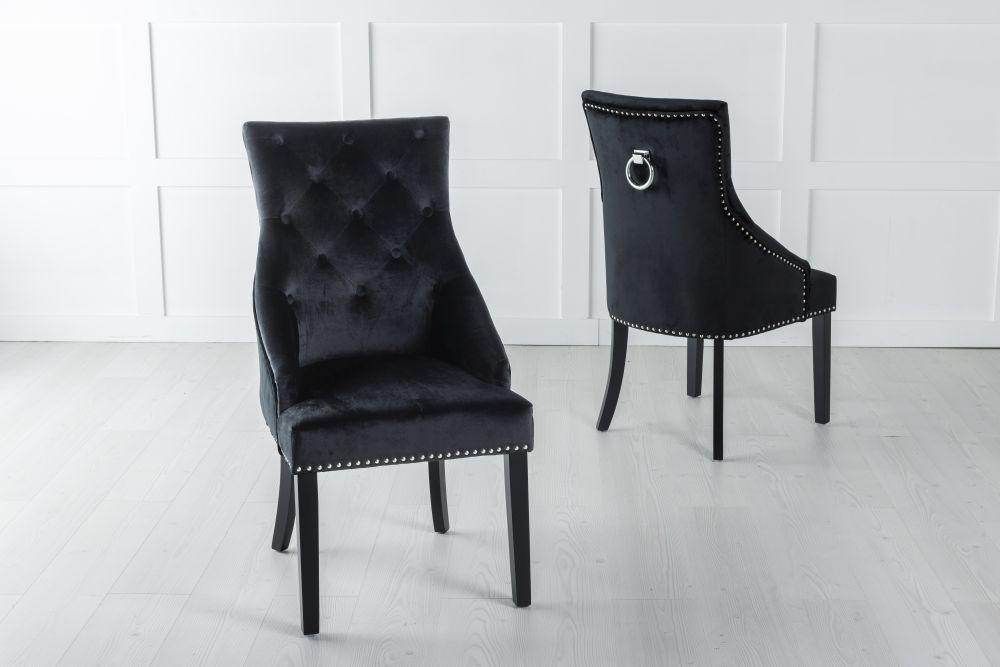 Large Black Velvet Knockerback Ring Dining Chair