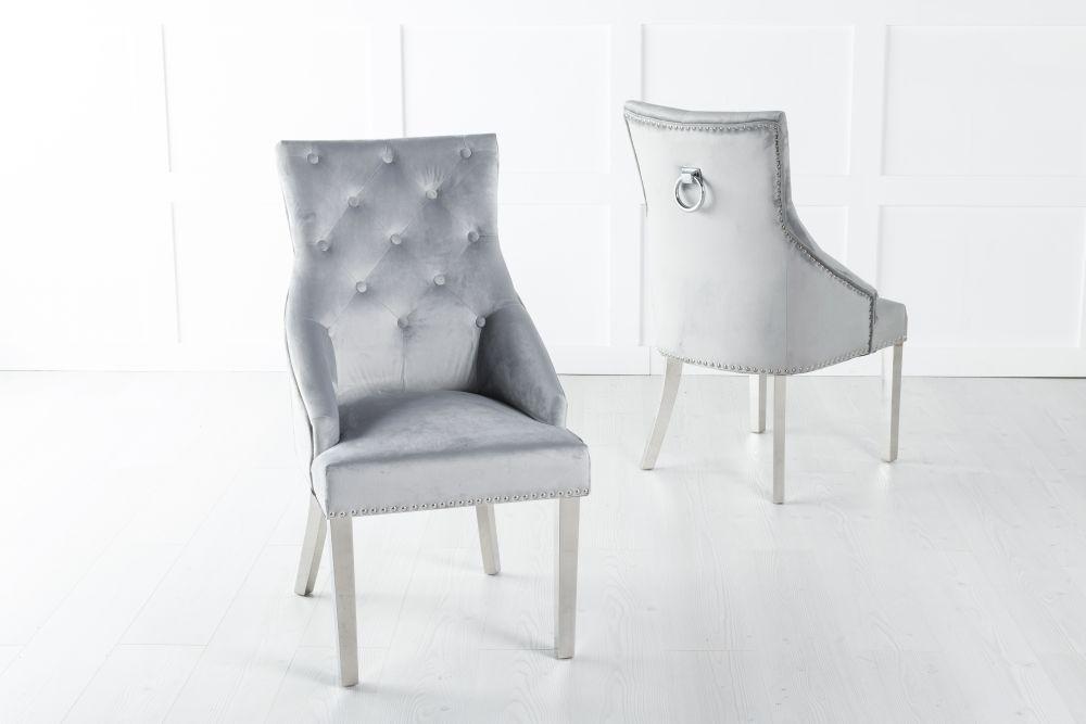 Large Light Grey Velvet Knockerback Ring Dining Chair with Chrome Legs