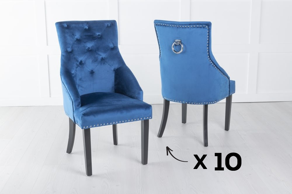 Product photograph showing Set Of 10 Large Blue Velvet Knockerback Ring Dining Chair