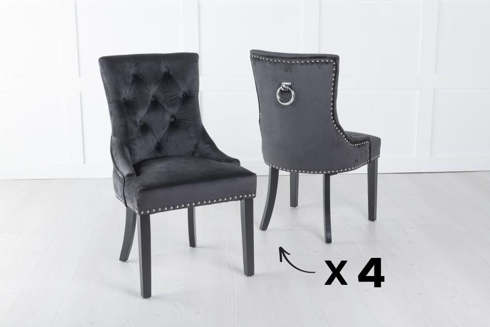 Set of 4 Black Velvet Knockerback Ring Dining Chair
