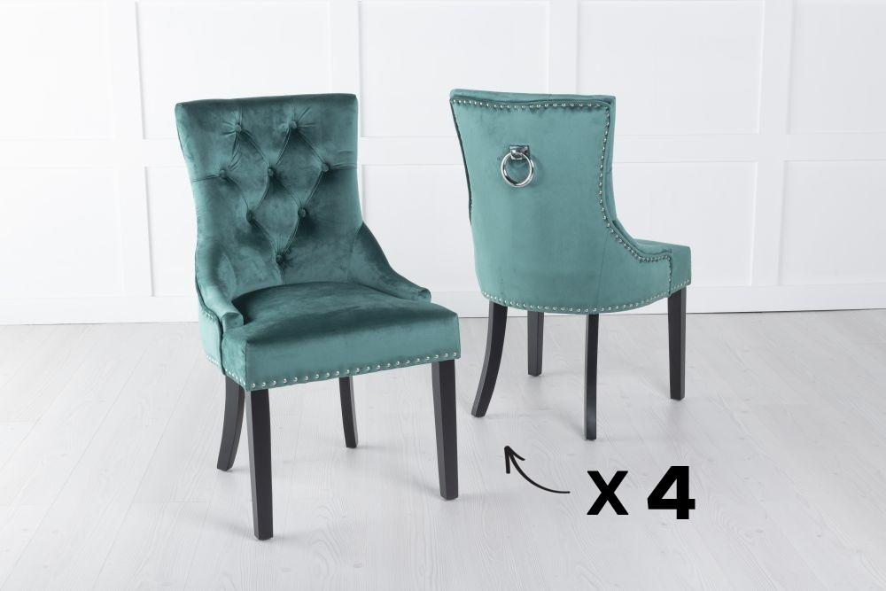 Set of 4 Green Velvet Knockerback Ring Dining Chair
