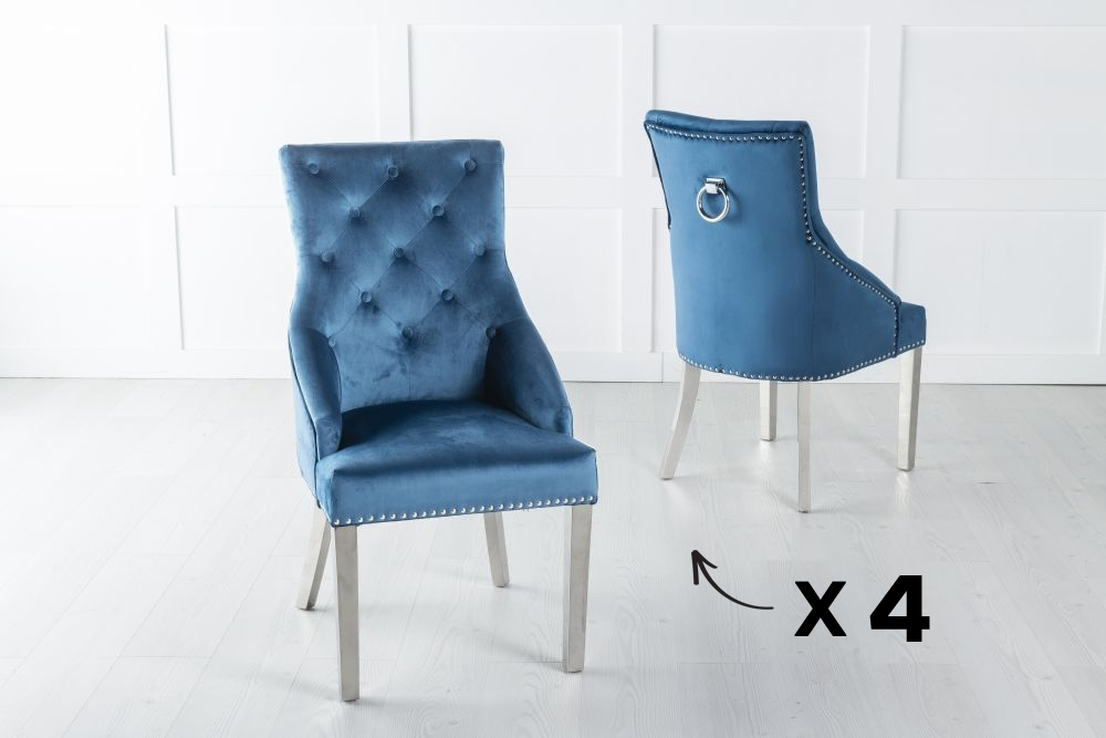 Product photograph showing Set Of 4 Large Blue Velvet Knockerback Ring Dining Chair With Chrome Legs