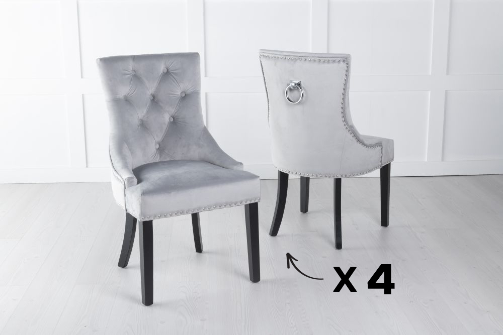 Set of 4 Light Grey Velvet Knockerback Ring Dining Chair