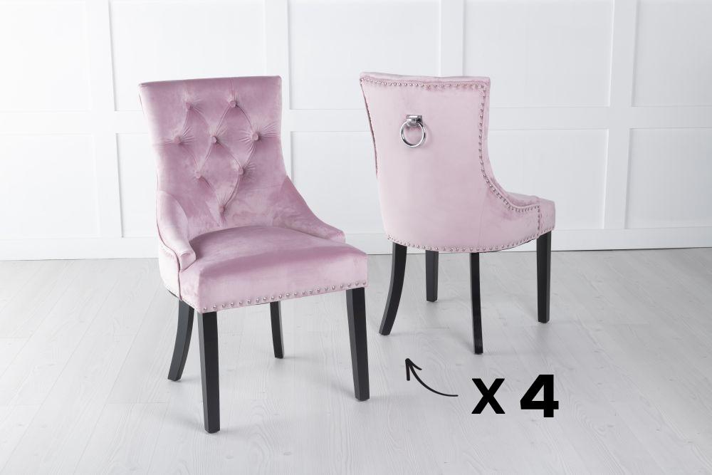 Set of 4 Pink Velvet Knockerback Ring Dining Chair