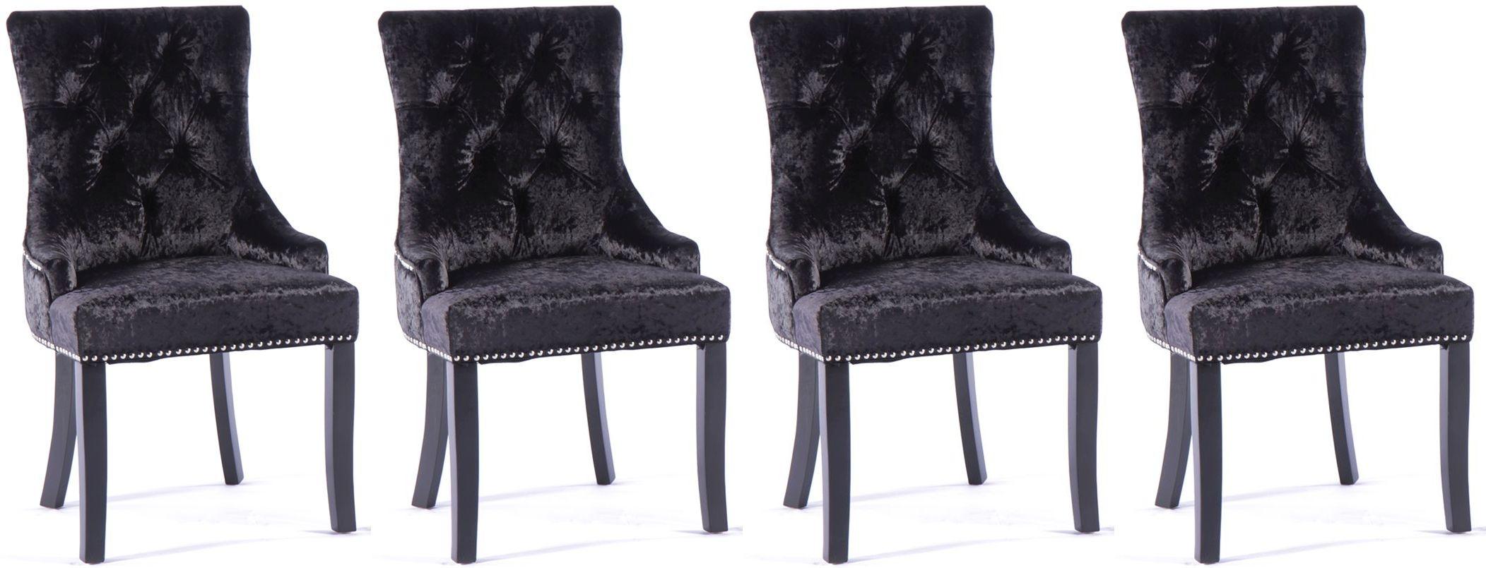 4 x Black Velvet Knockerback Dining Chair