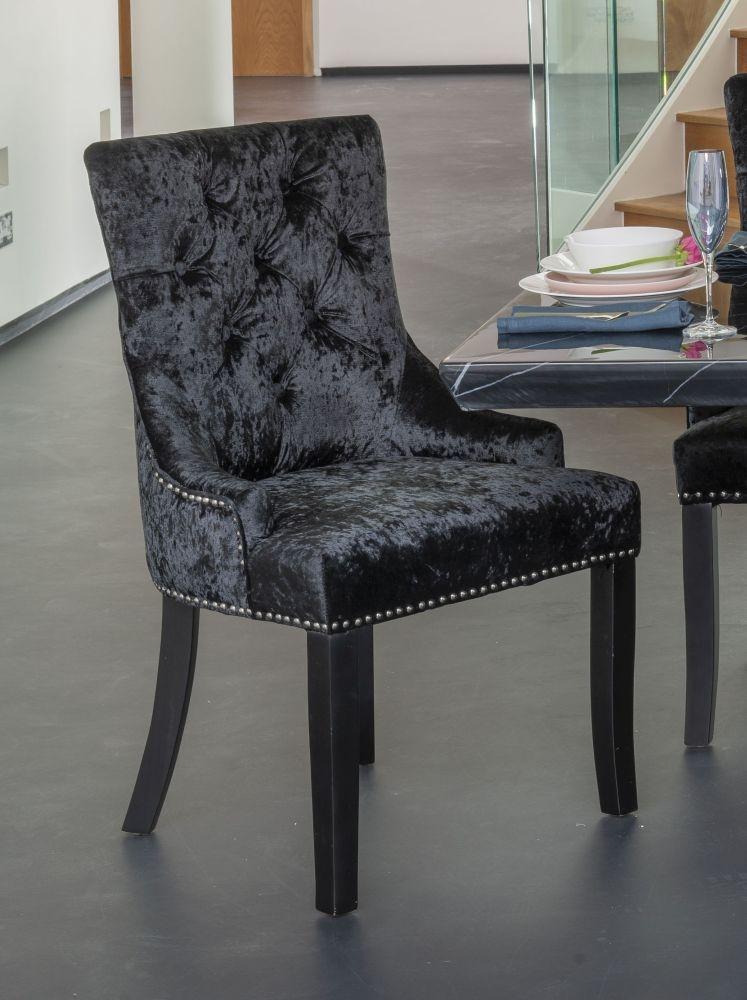 Black Velvet Knockerback Dining Chair (Pair)