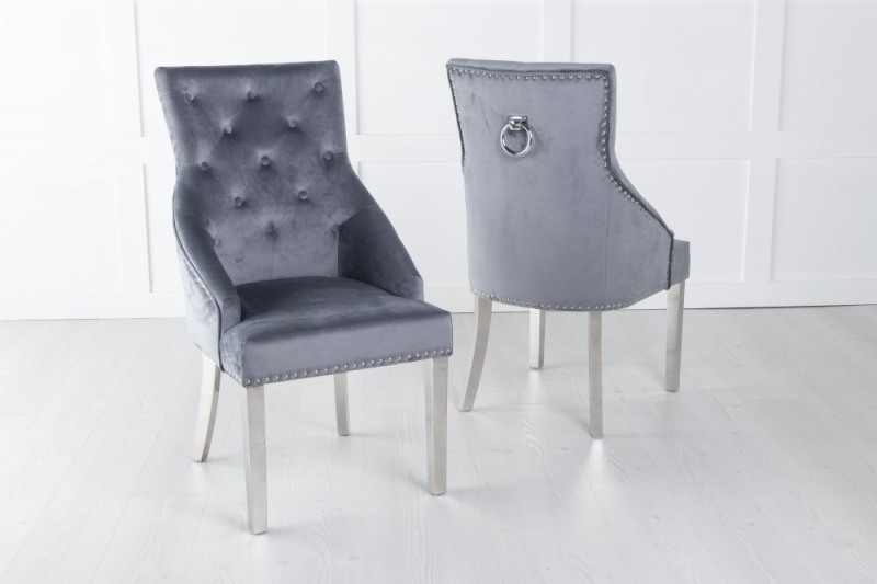 Large Grey Velvet Knockerback Ring Dining Chair with Chrome Legs