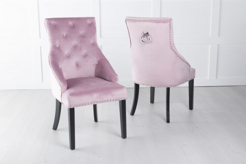 Large Pink Velvet Knockerback Ring Dining Chair