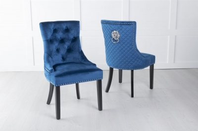 Blue Velvet Cross Stitched Lion Head Ring Back Dining Chair