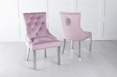 Pink Velvet Lion Knocker Dining Chair / Chrome Legs - Scoop Back