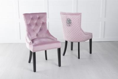 Pink Velvet Lion Knocker Dining Chair / Black Legs - Scoop Back