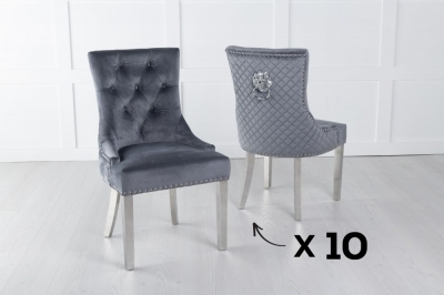 Set of 10 Grey Velvet Cross Stitched Lion Head Ring Back Dining Chair with Chrome Legs