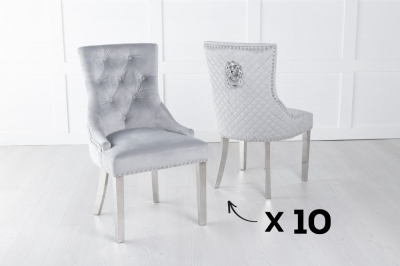 Set of 10 Light Grey Velvet Cross Stitched Lion Head Ring Back Dining Chair with Chrome Legs