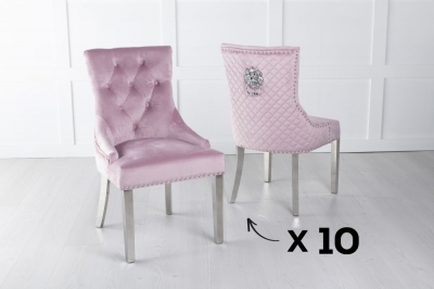 Set of 10 Pink Velvet Cross Stitched Lion Head Ring Back Dining Chair with Chrome Legs