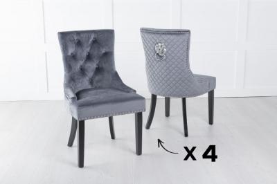 Set of 4 Grey Velvet Lion Knocker Dining Chair / Black Legs - Scoop Back