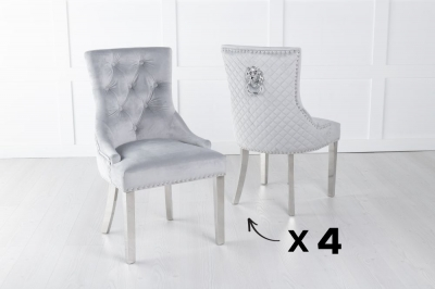 Set of 4 Light Grey Velvet Cross Stitched Lion Head Ring Back Dining Chair with Chrome Legs