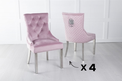 Set of 4 Pink Velvet Cross Stitched Lion Head Ring Back Dining Chair with Chrome Legs
