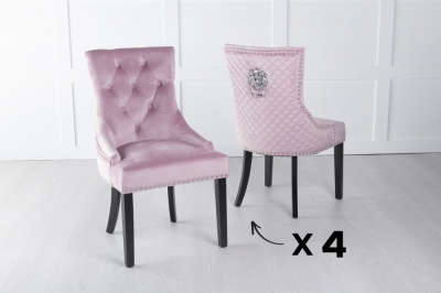 Set of 4 Pink Velvet Cross Stitched Lion Head Ring Back Dining Chair