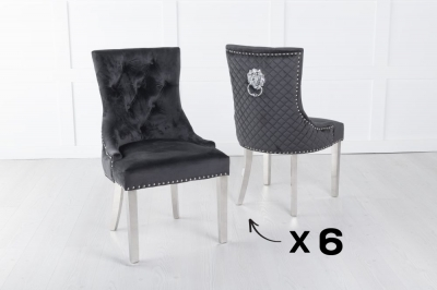 Set of 6 Black Velvet Cross Stitched Lion Head Ring Back Dining Chair with Chrome Legs
