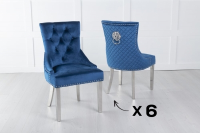 Set of 6 Blue Velvet Cross Stitched Lion Head Ring Back Dining Chair with Chrome Legs