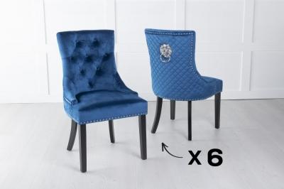 Set of 6 Blue Velvet Lion Knocker Dining Chair / Black Legs - Scoop Back