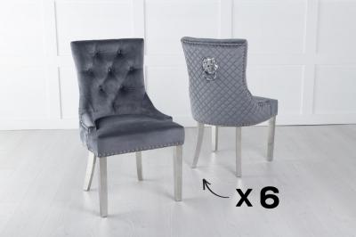 Set of 6 Grey Velvet Lion Knocker Dining Chair / Chrome Legs - Scoop Back