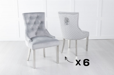 Set of 6 Light Grey Velvet Cross Stitched Lion Head Ring Back Dining Chair with Chrome Legs