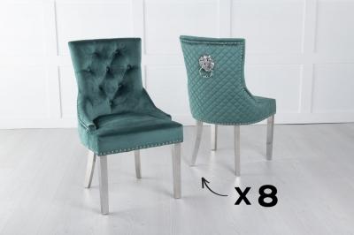 Set of 8 Green Velvet Lion Knocker Dining Chair / Chrome Legs - Scoop Back