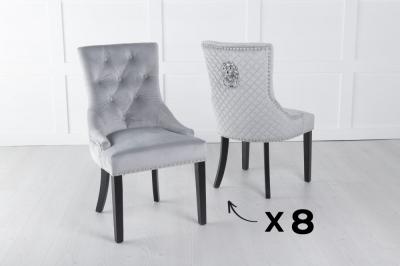 Set of 8 Light Grey Velvet Lion Knocker Dining Chair / Black Legs - Scoop Back